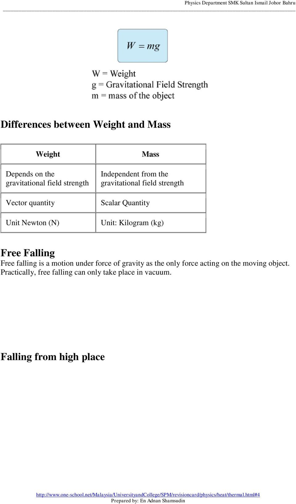 Unit: Kilogram (kg) Free Falling Free falling is a motion under force of gravity as the only force