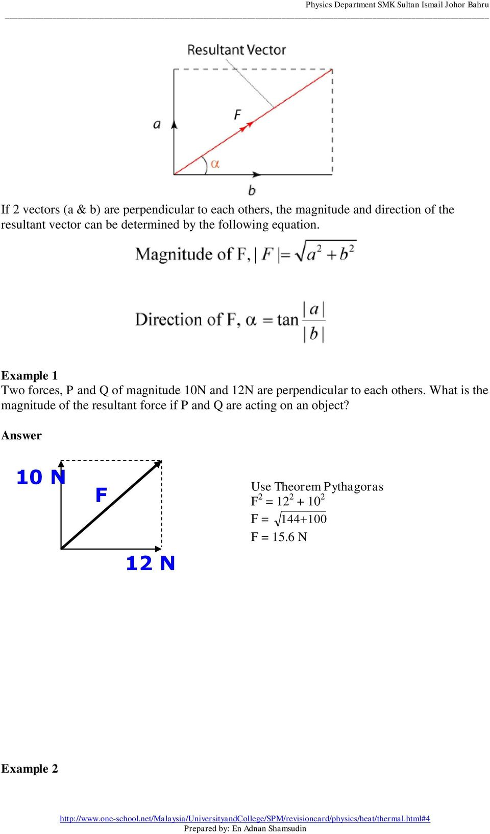 Example 1 Two forces, P and Q of magnitude 10N and 12N are perpendicular to each others.