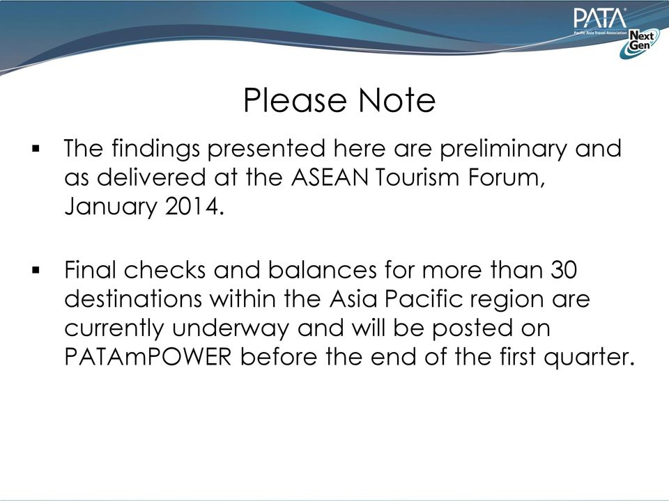 Final checks and balances for more than 30 destinations within the Asia