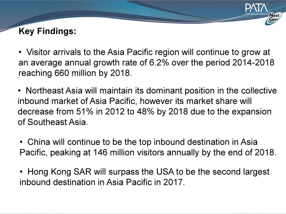 Northeast Asia will maintain its dominant position in the collective inbound market of Asia Pacific, however its market share will decrease from 51% in 2012
