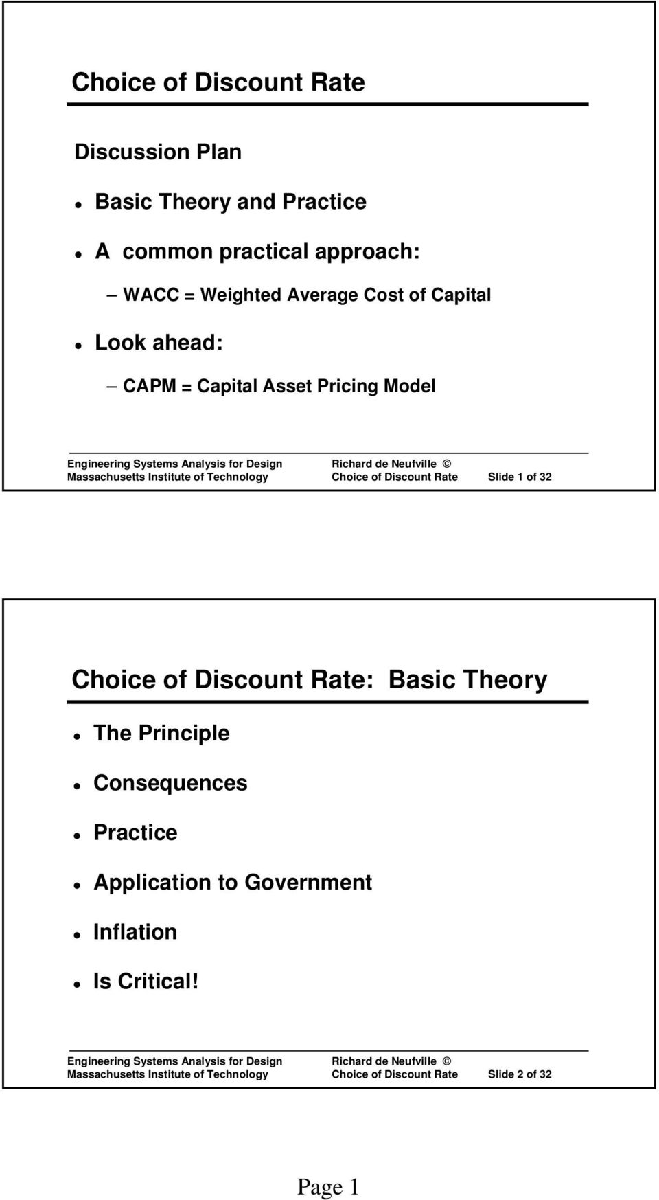 of Discount Rate Slide 1 of 32 Choice of Discount Rate: Basic Theory The Principle Consequences Practice