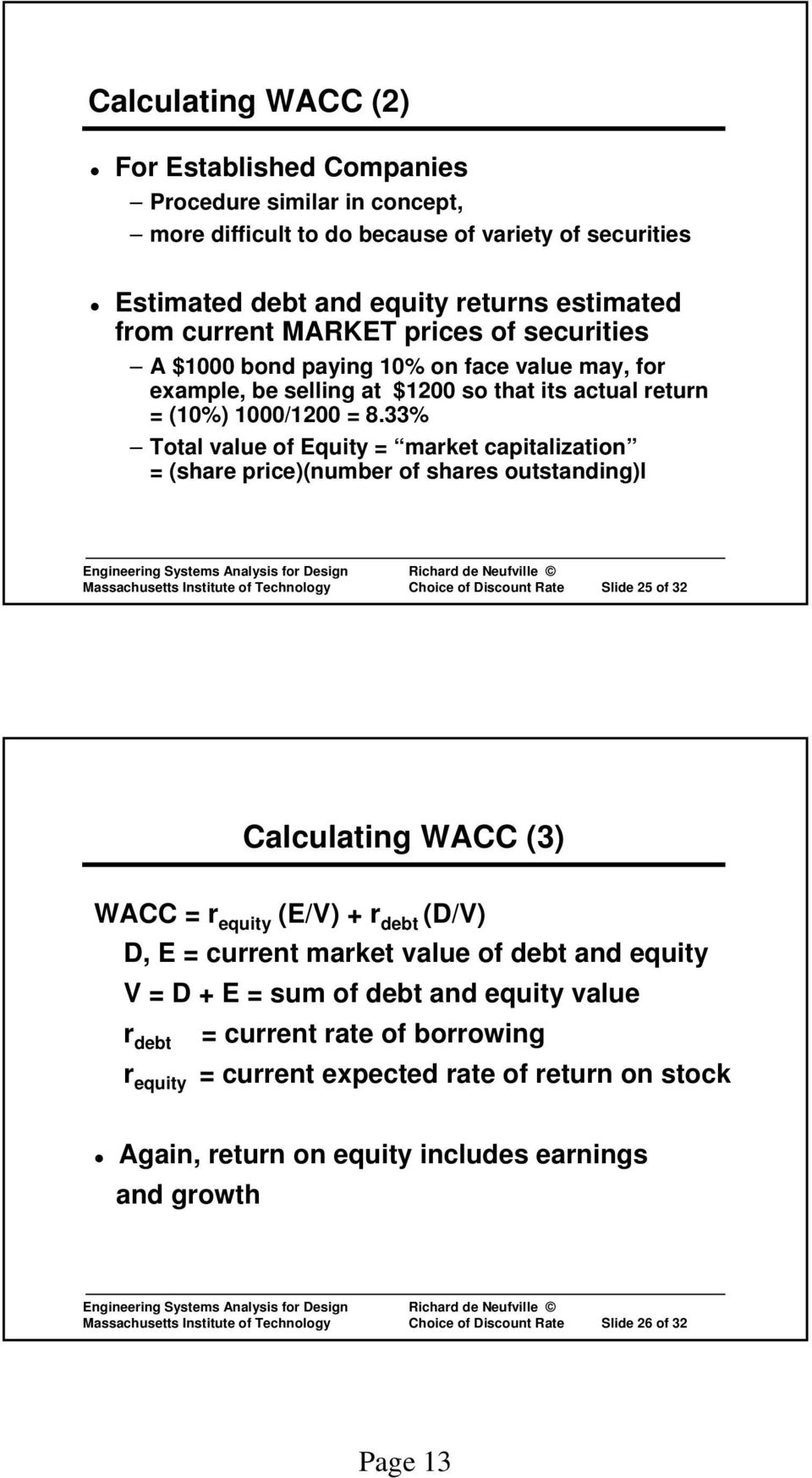 33% Total value of Equity = market capitalization = (share price)(number of shares outstanding)l Massachusetts Institute of Technology Choice of Discount Rate Slide 25 of 32 Calculating WACC (3) WACC