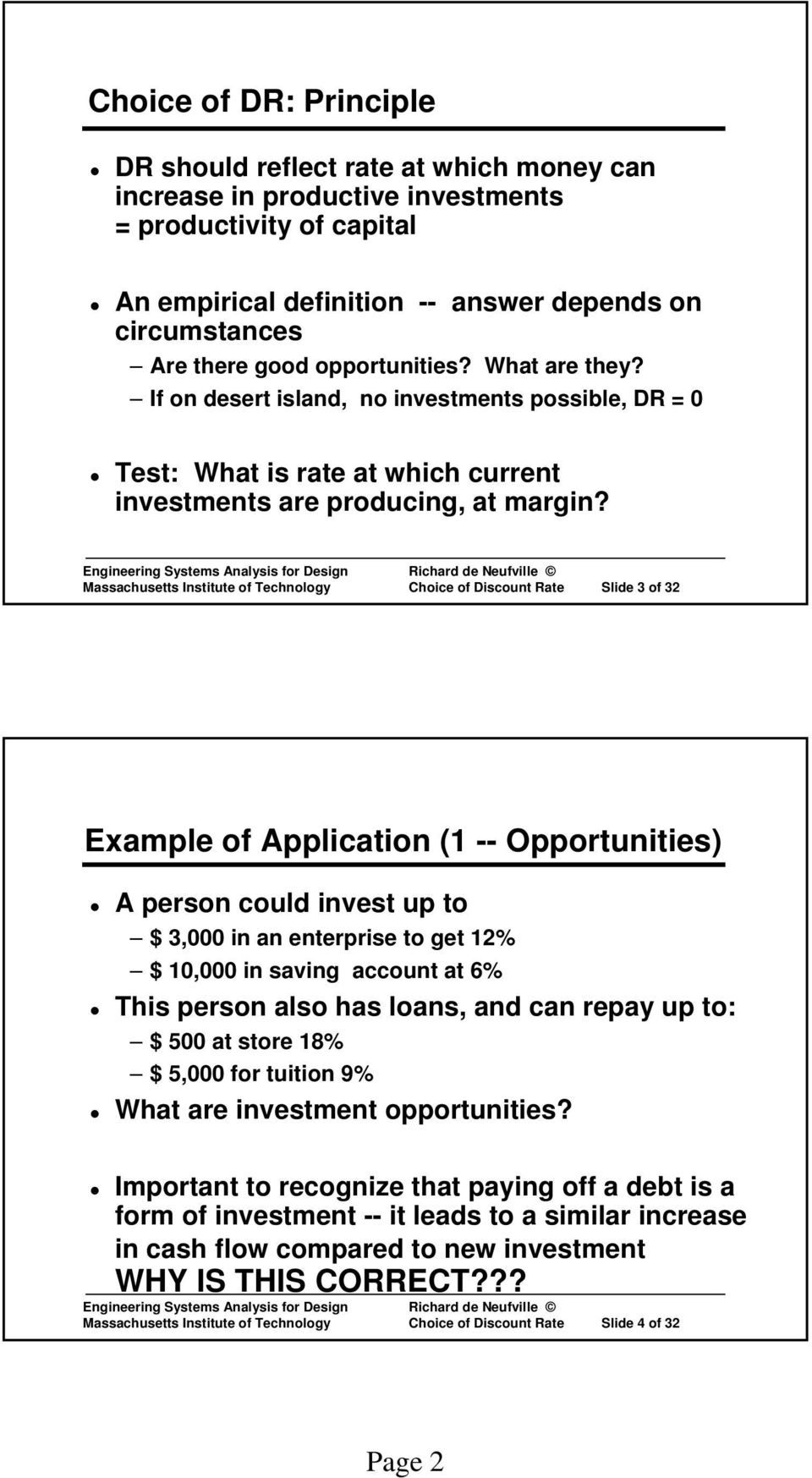 Massachusetts Institute of Technology Choice of Discount Rate Slide 3 of 32 Example of Application (1 -- Opportunities) A person could invest up to $ 3,000 in an enterprise to get 12% $ 10,000 in