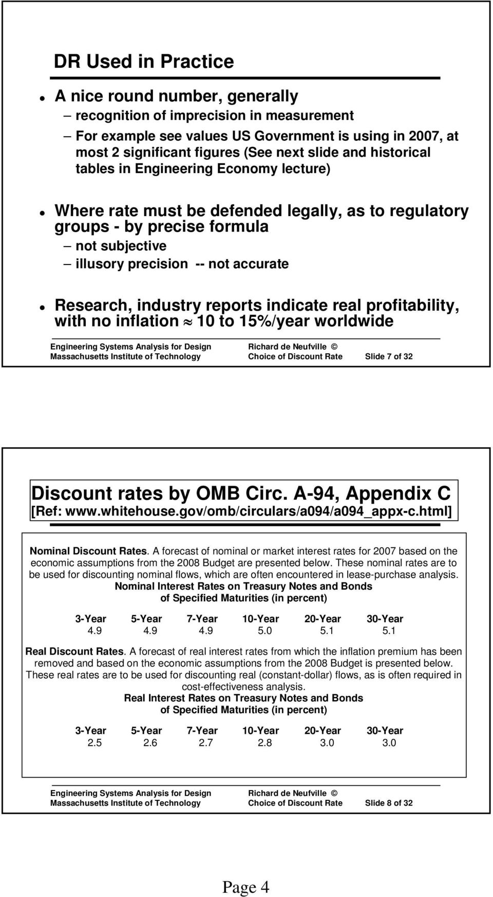 industry reports indicate real profitability, with no inflation 10 to 15%/year worldwide Massachusetts Institute of Technology Choice of Discount Rate Slide 7 of 32 Discount rates by OMB Circ.