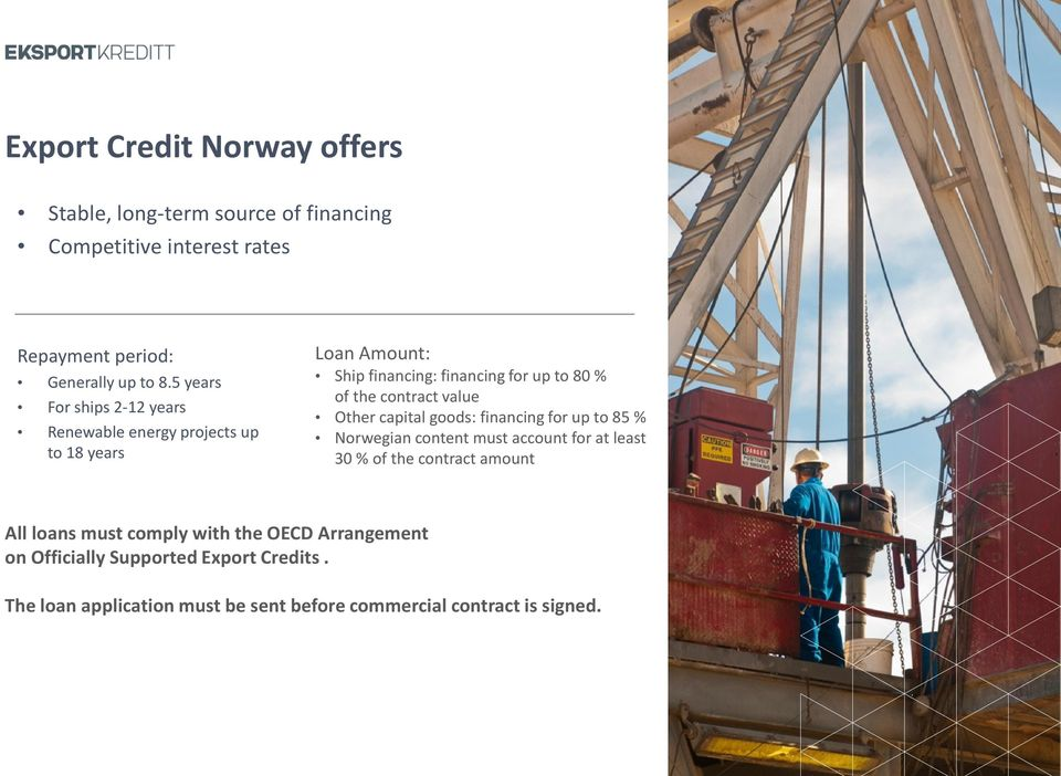 contract value Other capital goods: financing for up to 85 % Norwegian content must account for at least 30 % of the contract amount All