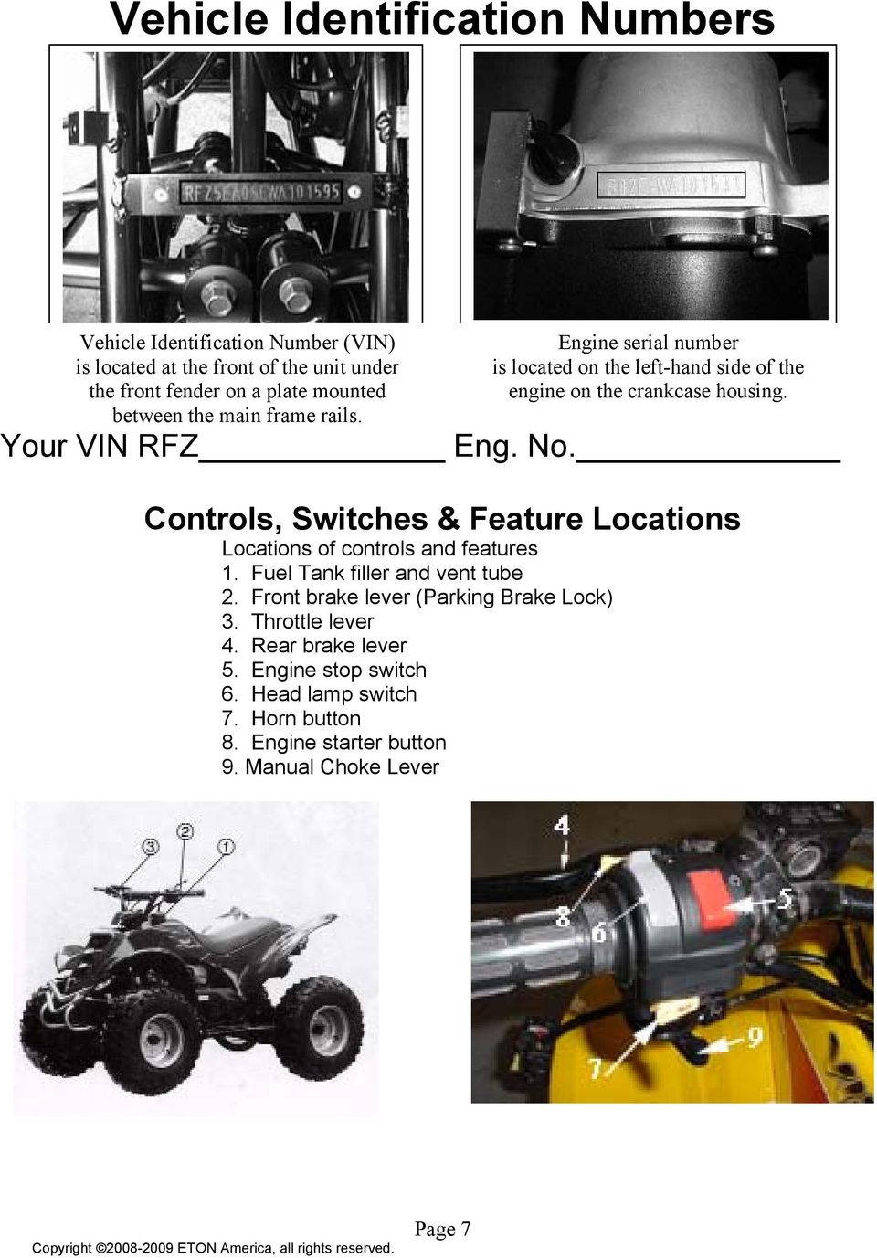 Controls, Switches & Feature Locations Locations of controls and features  1. Fuel Tank filler