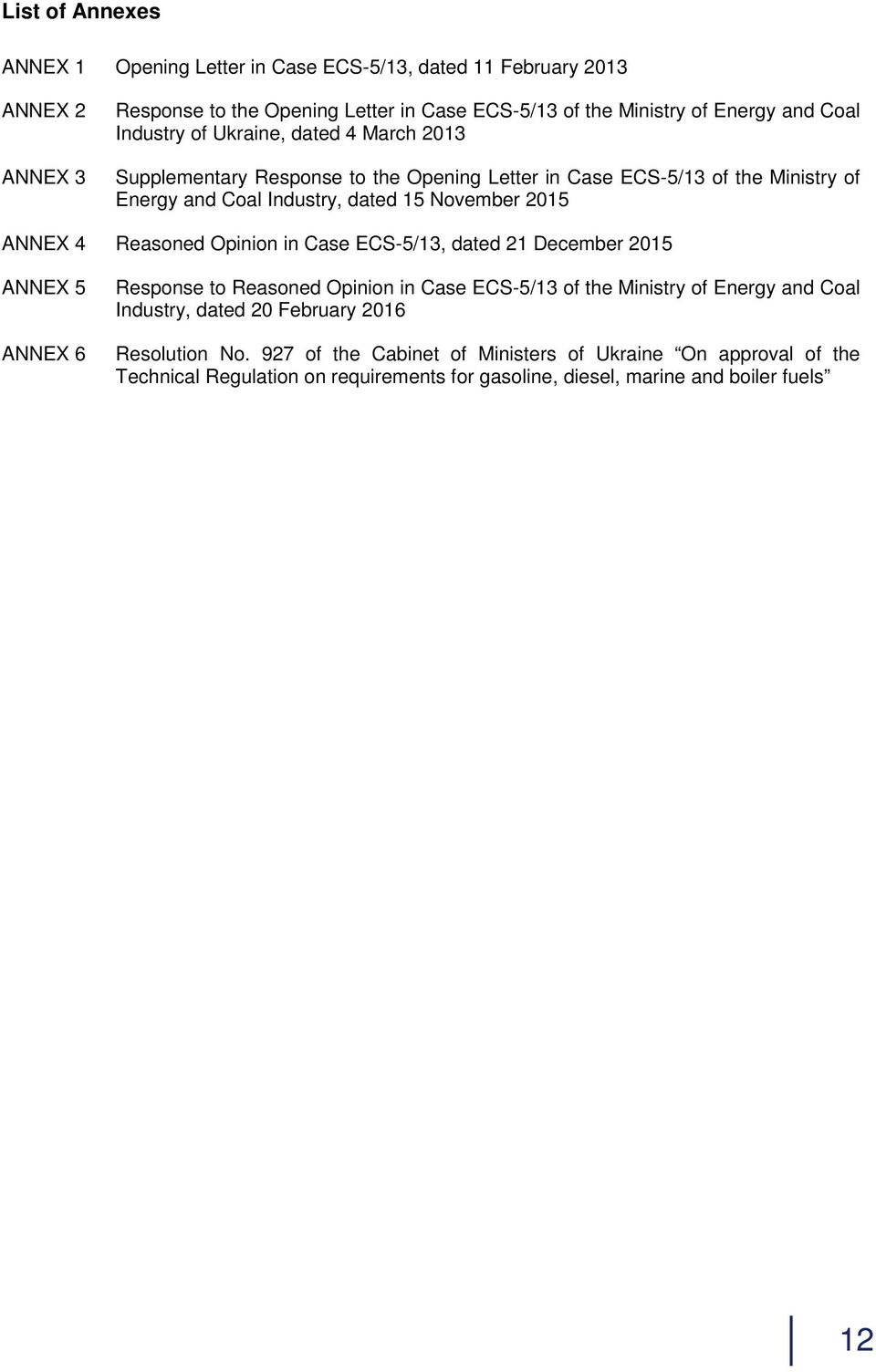 ANNEX 4 Reasoned Opinion in Case ECS-5/13, dated 21 December 2015 ANNEX 5 ANNEX 6 Response to Reasoned Opinion in Case ECS-5/13 of the Ministry of Energy and Coal Industry,