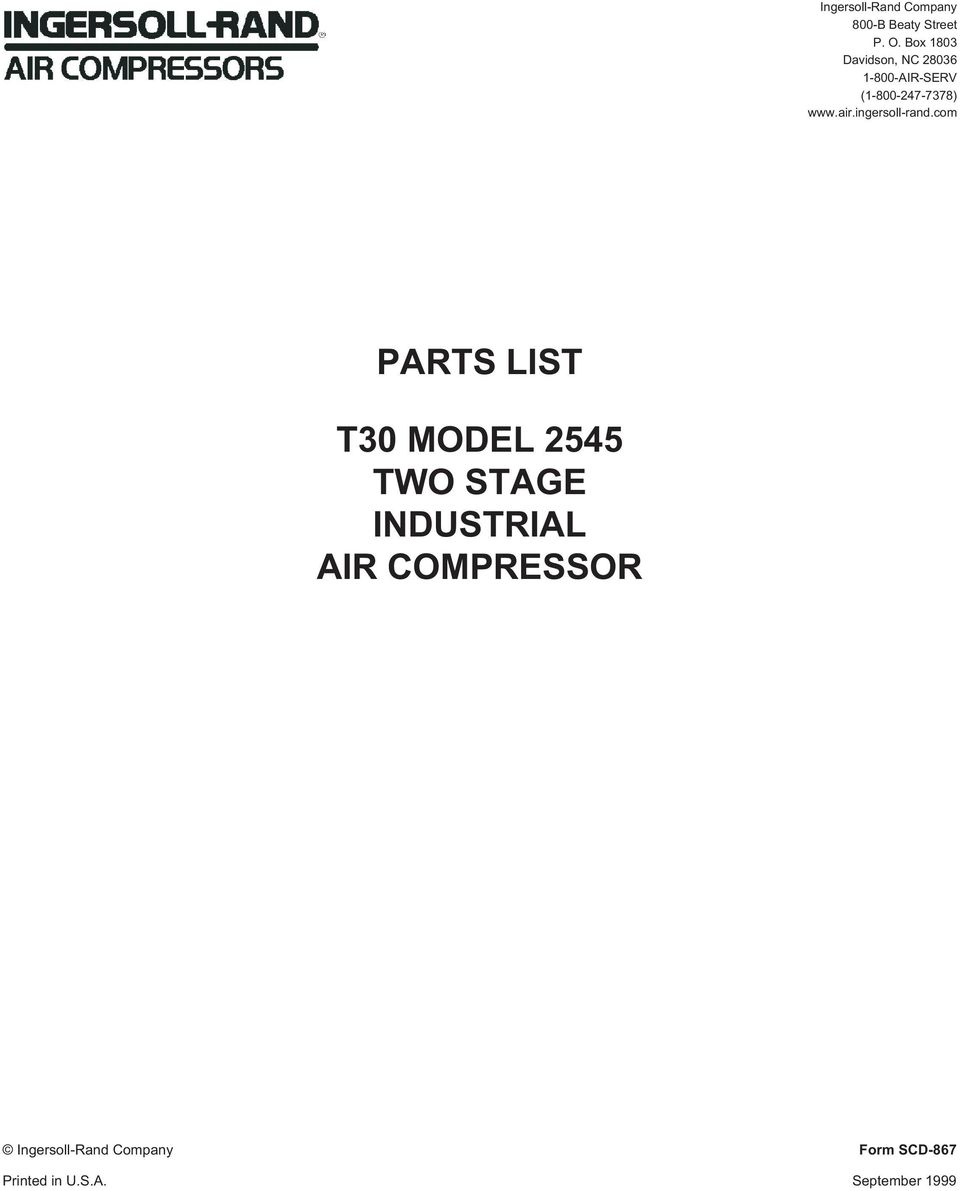 parts list t30 model 2545 two stage industrial air compressor pdf air ingersoll rand
