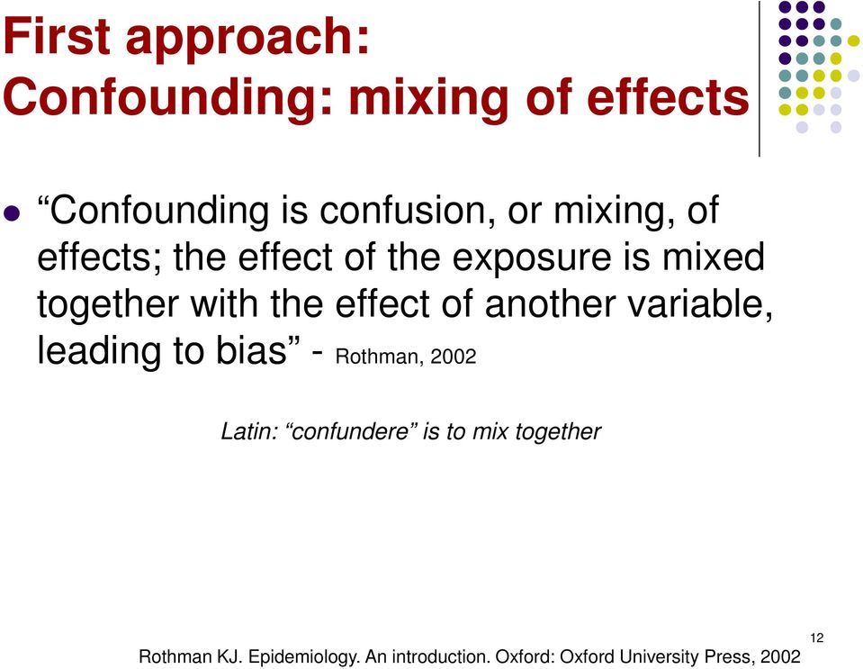 of another variable, leading to bias - Rothman, 2002 Latin: confundere is to mix