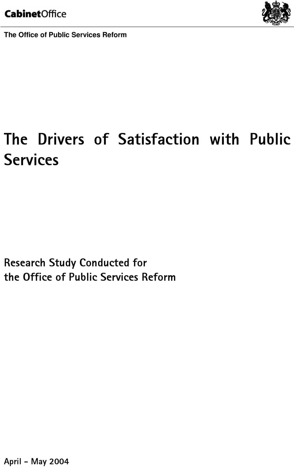 Services Research Study Conducted for the