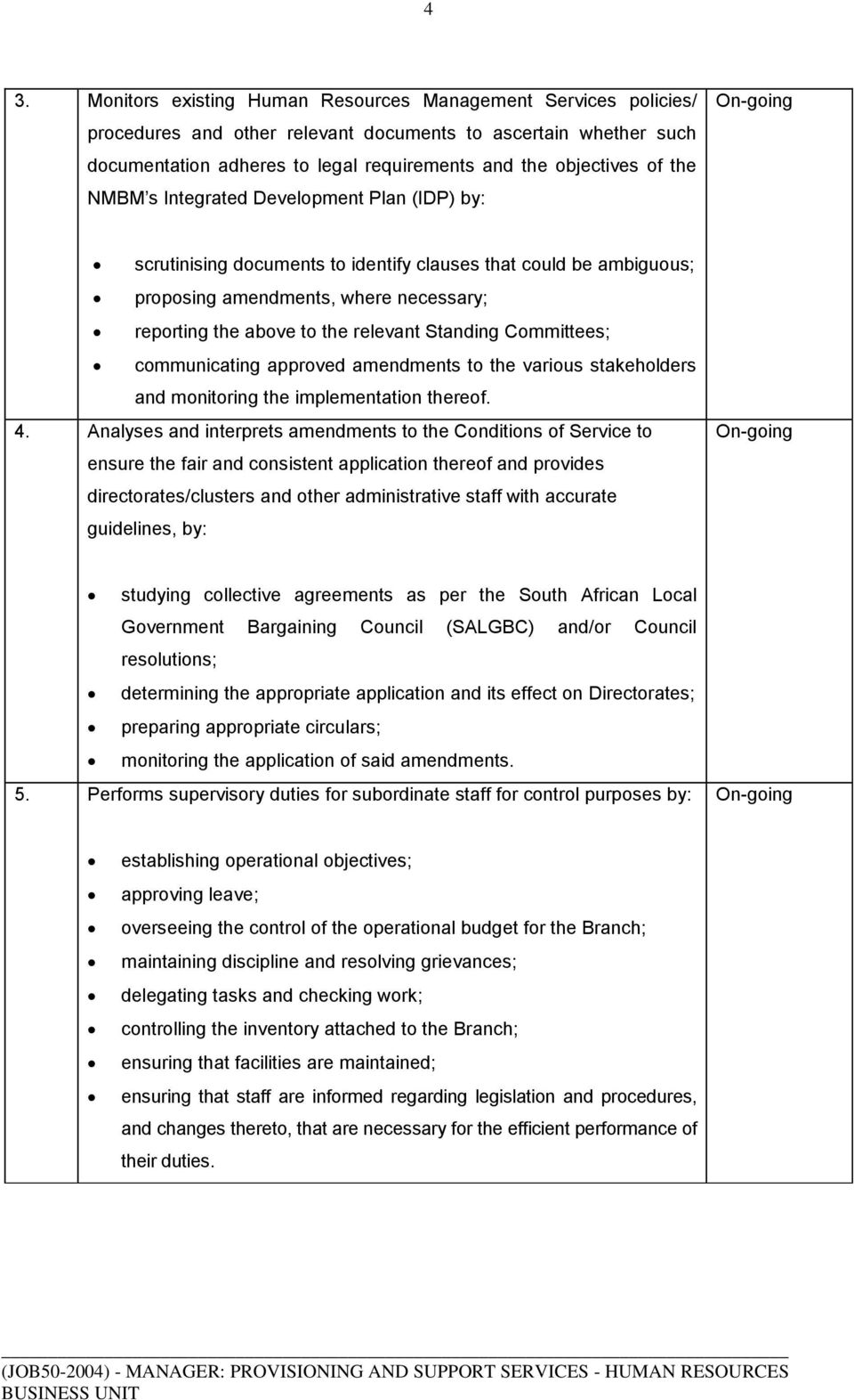 Standing Committees; communicating approved amendments to the various stakeholders and monitoring the implementation thereof. 4.