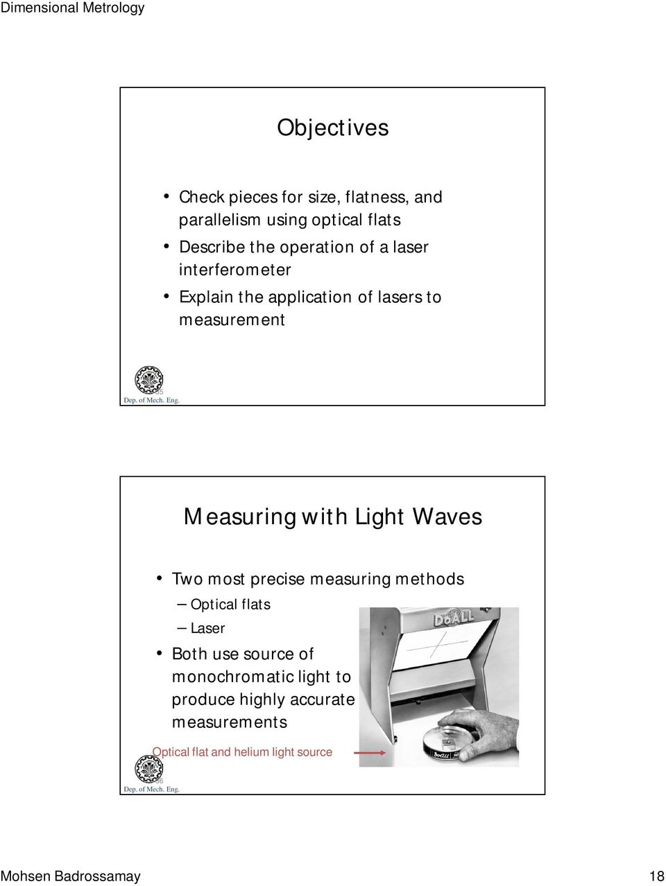 Waves Two most precise measuring methods Optical flats Laser Both use source of monochromatic light to