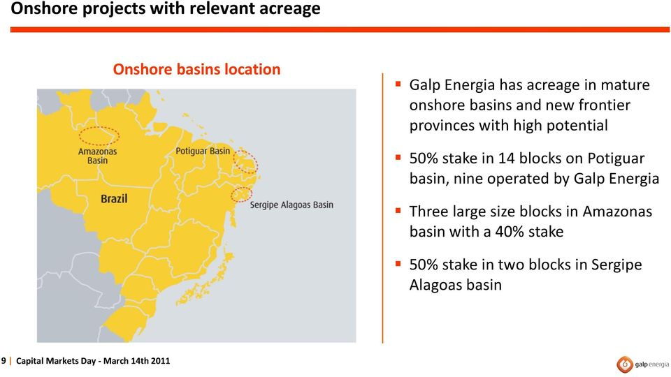 Potiguar basin, nine operated by Galp Energia Three large size blocks in Amazonas basin with a
