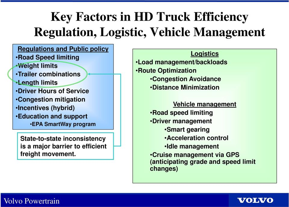 inconsistency is a major barrier to efficient freight movement.