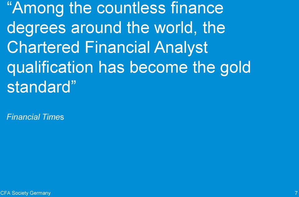 Financial Analyst qualification has