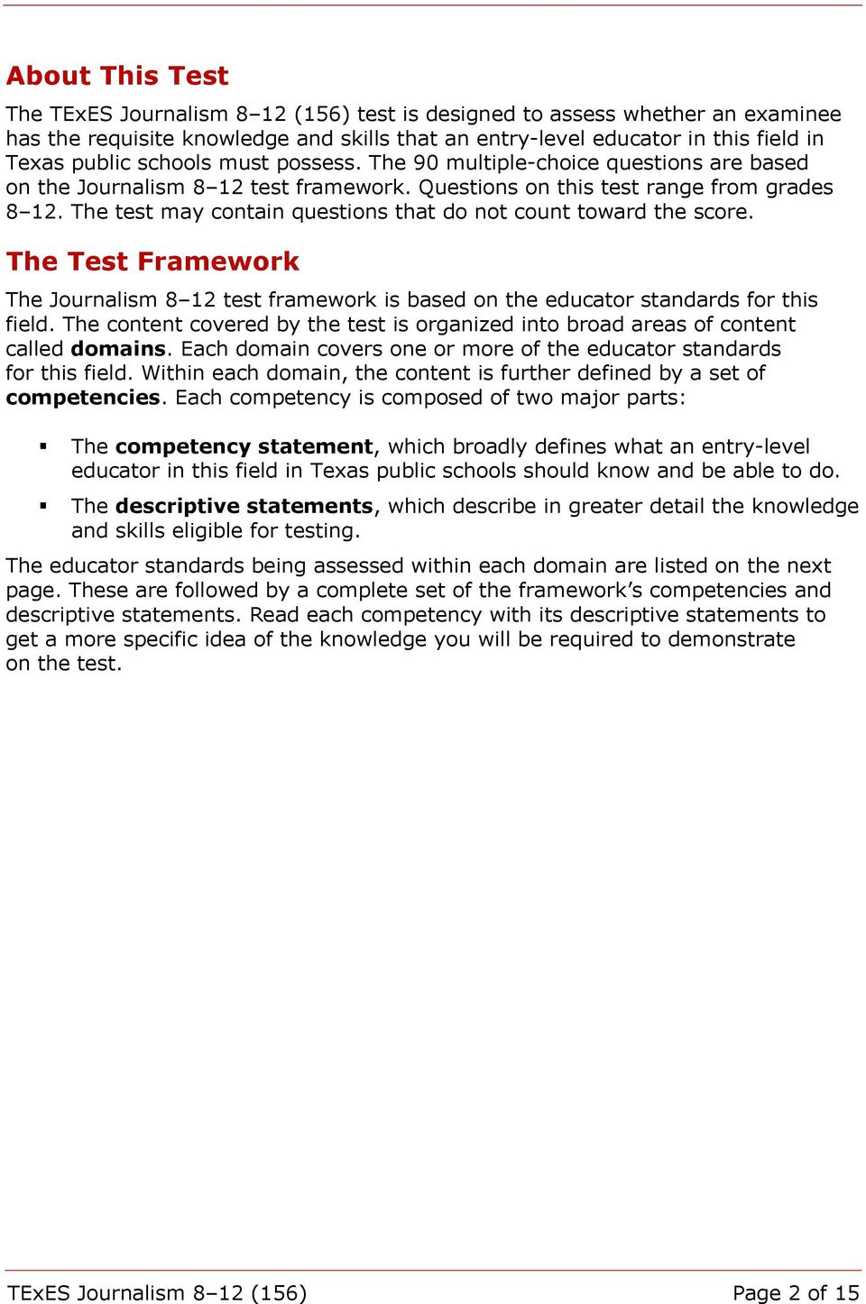 The test may contain questions that do not count toward the score. The Test Framework The Journalism 8 12 test framework is based on the educator standards for this field.