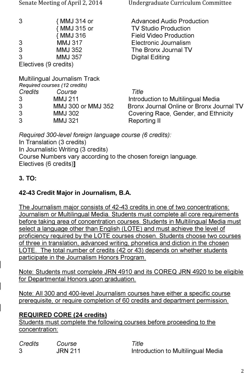 Journal TV 3 MMJ 302 Covering Race, Gender, and Ethnicity 3 MMJ 321 Reporting II Required 300-level foreign language (6 credits): In Translation (3 credits) In Journalistic Writing (3 credits) Course