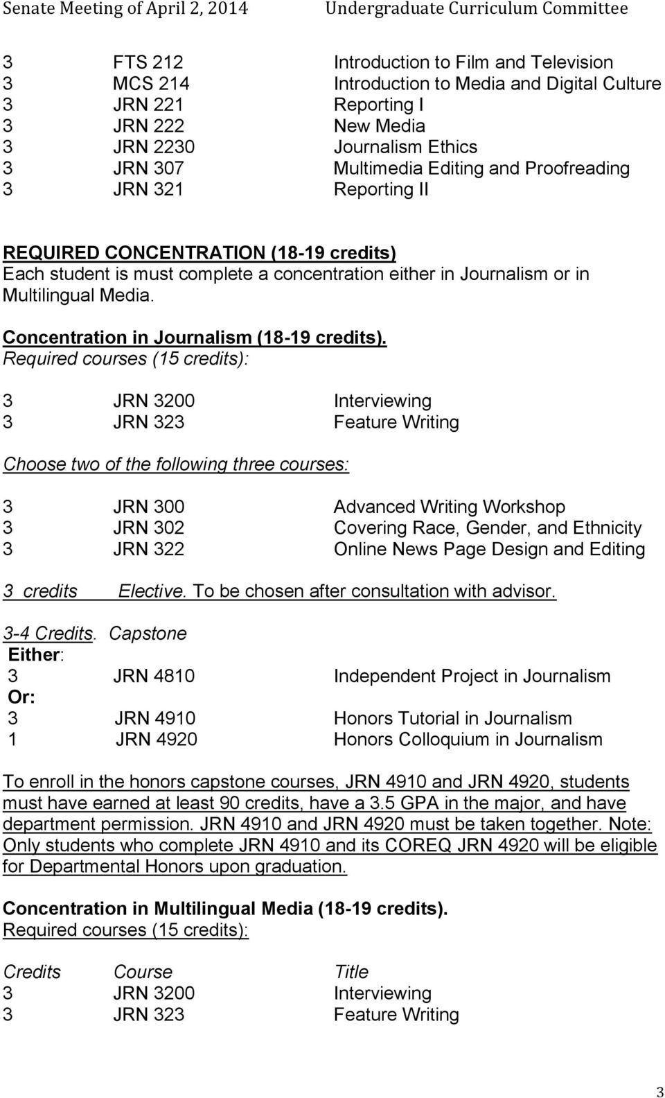 Concentration in Journalism (18-19 credits).