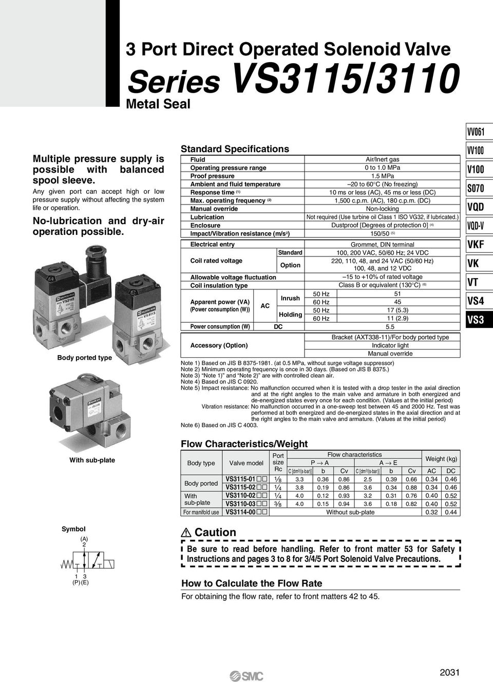 Body ported type With sub-plate Symbol (A) (P) (E) Standard Specifications Fluid Operating pressure range Proof pressure Ambient and fluid temperature Response time () Max.