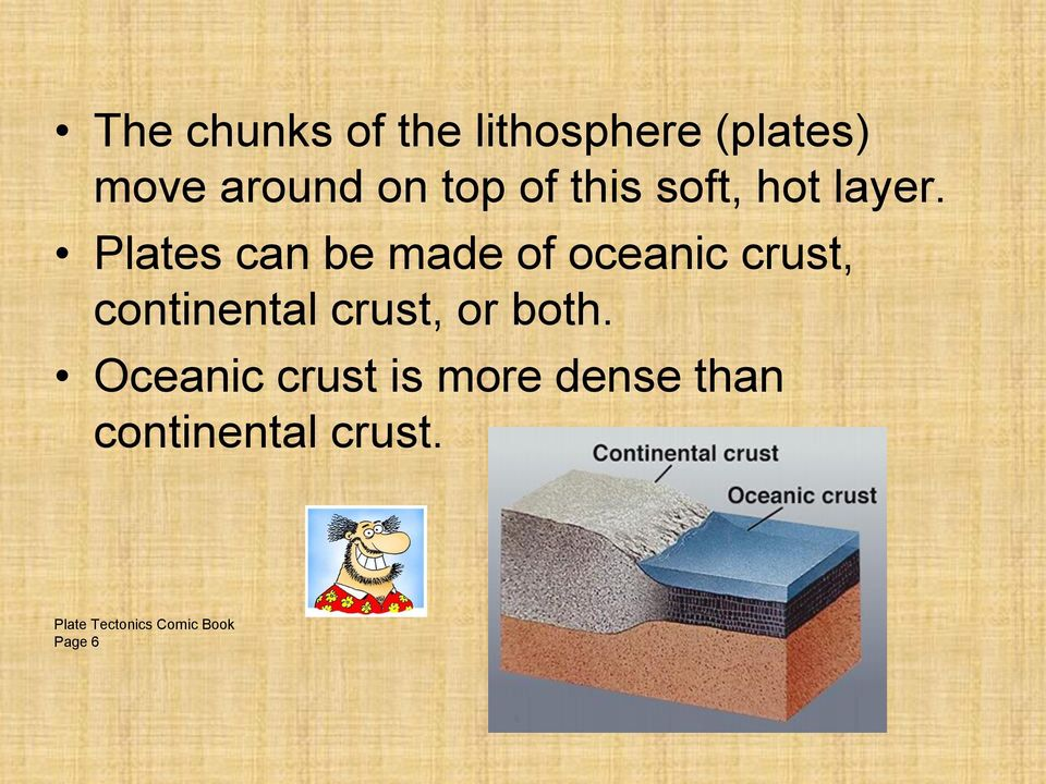 Plates can be made of oceanic crust, continental