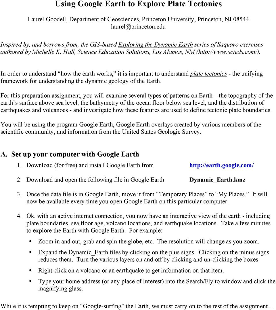 Using Google Earth To Explore Plate Tectonics Pdf