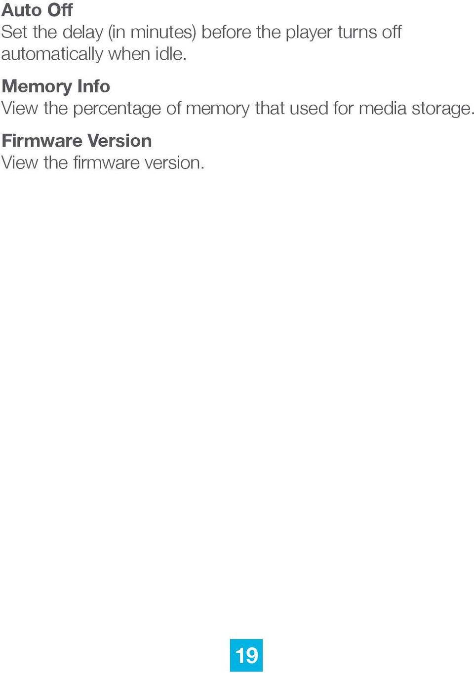 Memory Info View the percentage of memory that used