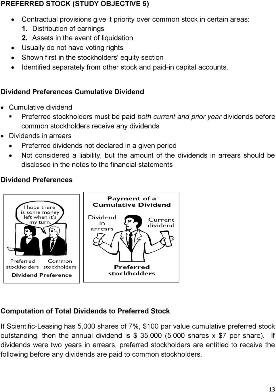 Dividend Preferences Cumulative Dividend Cumulative dividend Preferred stockholders must be paid both current and prior year dividends before common stockholders receive any dividends Dividends in
