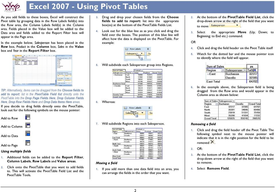 In the example below, Salesperson has been placed in the Row box, Product in the Column box, Sales in the Value box and Year in the Report Filter box. 3.