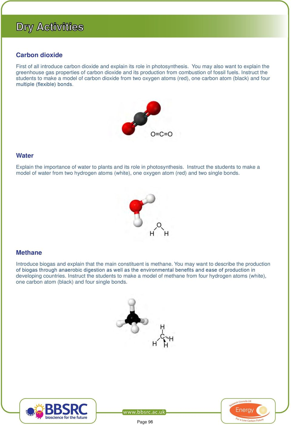 Instruct the students to make a model of carbon dioxide from two oxygen atoms (red), one carbon atom (black) and four multiple (flexible) bonds.