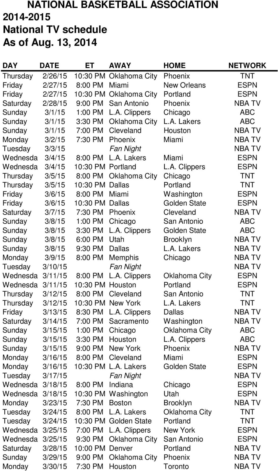 A. Lakers Miami ESPN Wednesda 3/4/15 10:30 PM Portland L.A. Clippers ESPN Thursday 3/5/15 8:00 PM Oklahoma City Chicago TNT Thursday 3/5/15 10:30 PM Dallas Portland TNT Friday 3/6/15 8:00 PM Miami