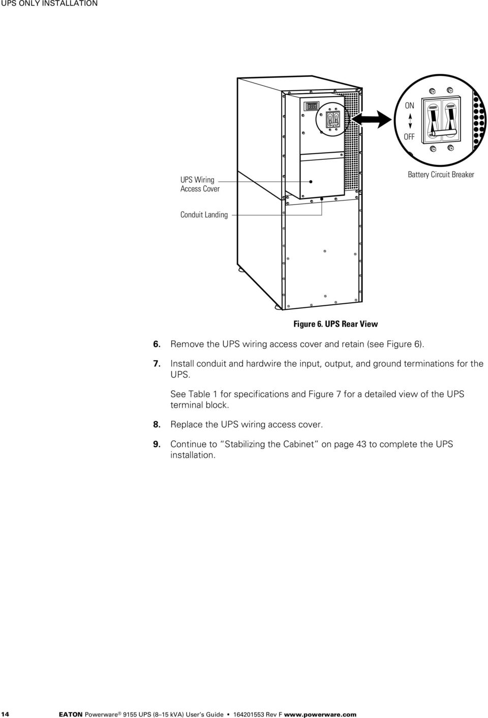 Powerware 9155 Ups 8 15 Kva User S Guide Pdf Wiring Diagram In Line Install Conduit And Hardwire The Input Output Ground Terminations For