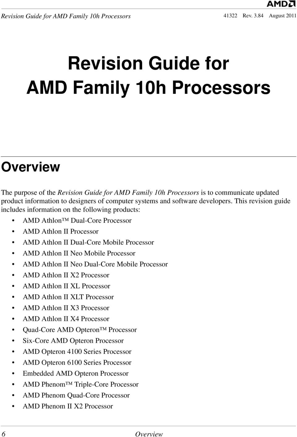 Revision Guide for AMD Family 10h Processors - PDF