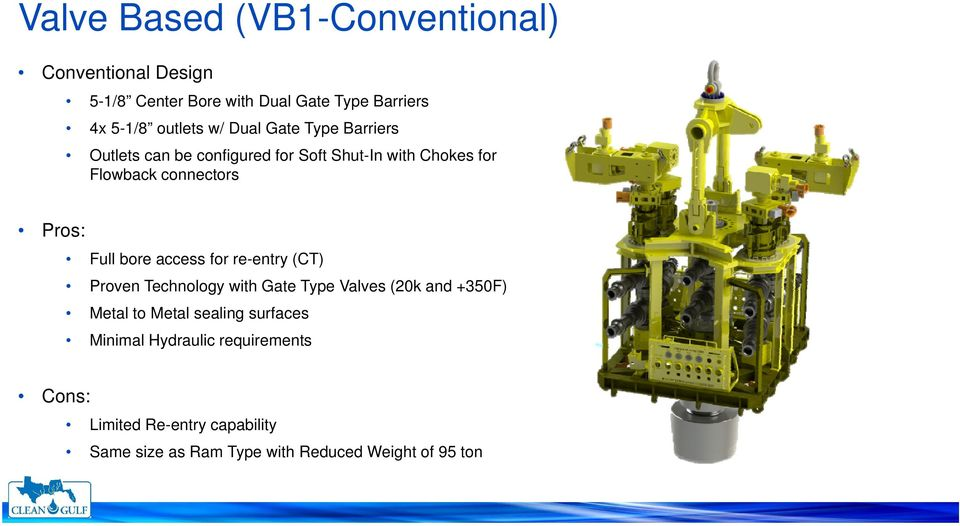 bore access for re-entry (CT) Proven Technology with Gate Type Valves (20k and +350F) Metal to Metal sealing