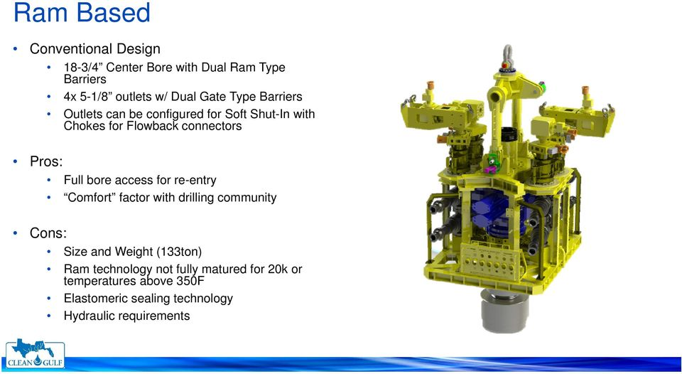 bore access for re-entry Comfort factor with drilling community Cons: Size and Weight (133ton) Ram