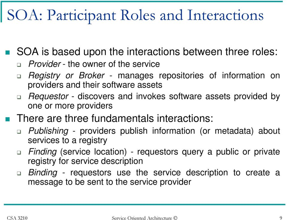 fundamentals interactions: Publishing - providers publish information (or metadata) about services to a registry Finding (service location) - requestors query a public or