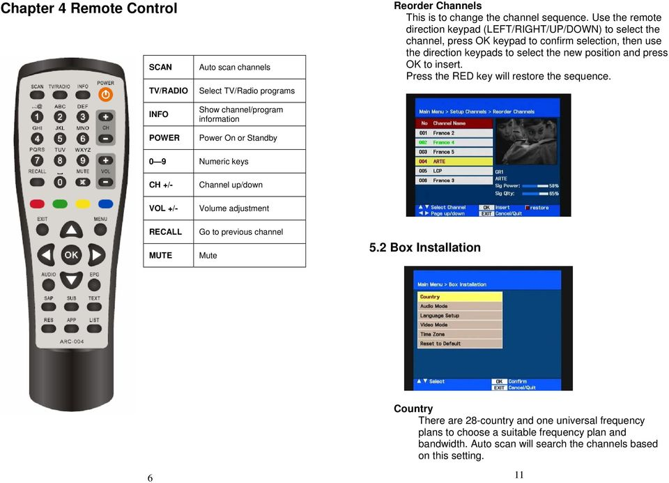 Use the remote direction keypad (LEFT/RIGHT/UP/DOWN) to select the channel, press OK keypad to confirm selection, then use the direction keypads to select the new position and press OK
