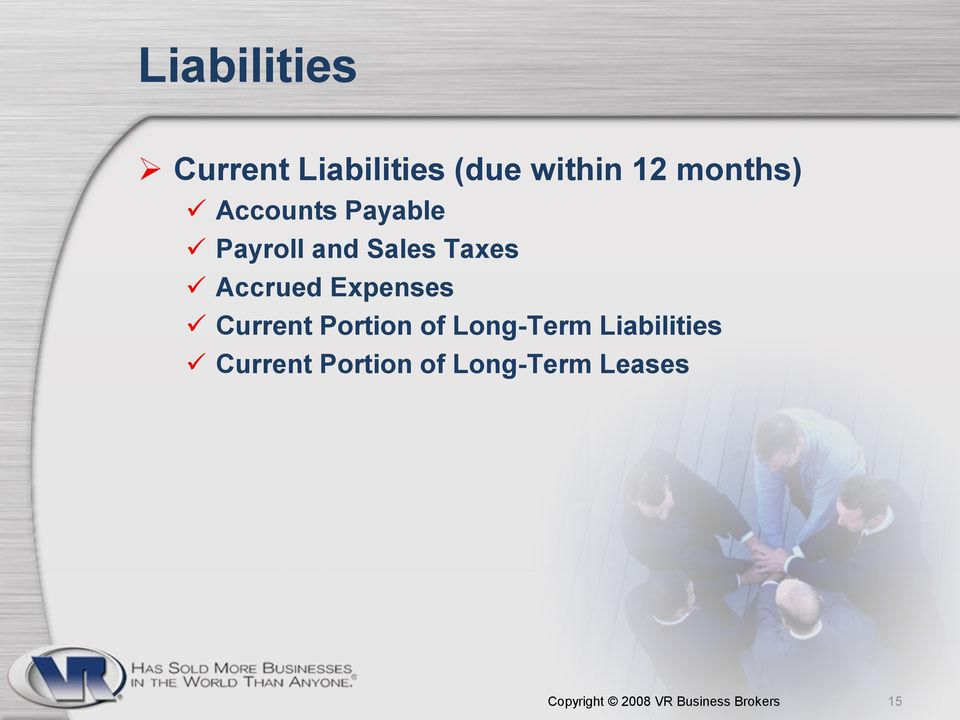 Expenses Current Portion of Long-Term Liabilities