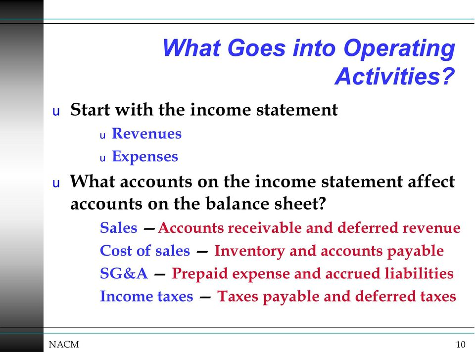 Sales Accounts receivable and deferred revenue Cost of sales Inventory and accounts