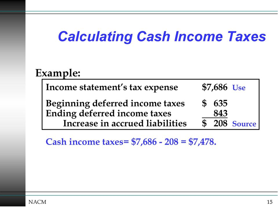 Ending deferred income taxes 843 Increase in accrued