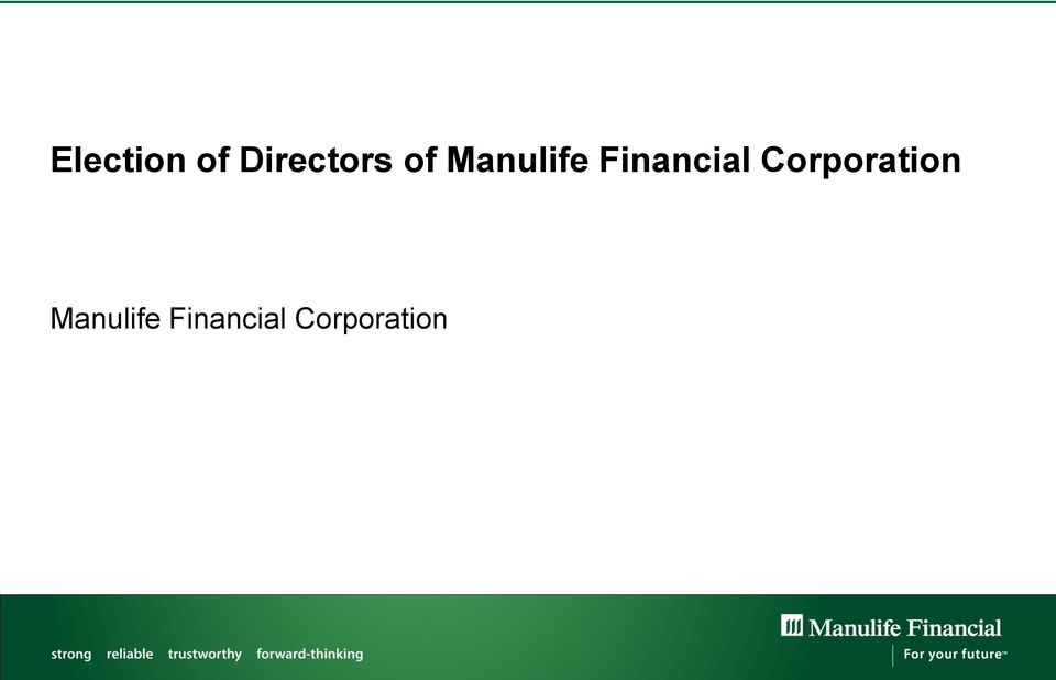 Corporation Manulife