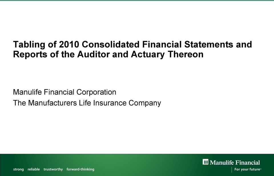 Actuary Thereon Manulife Financial