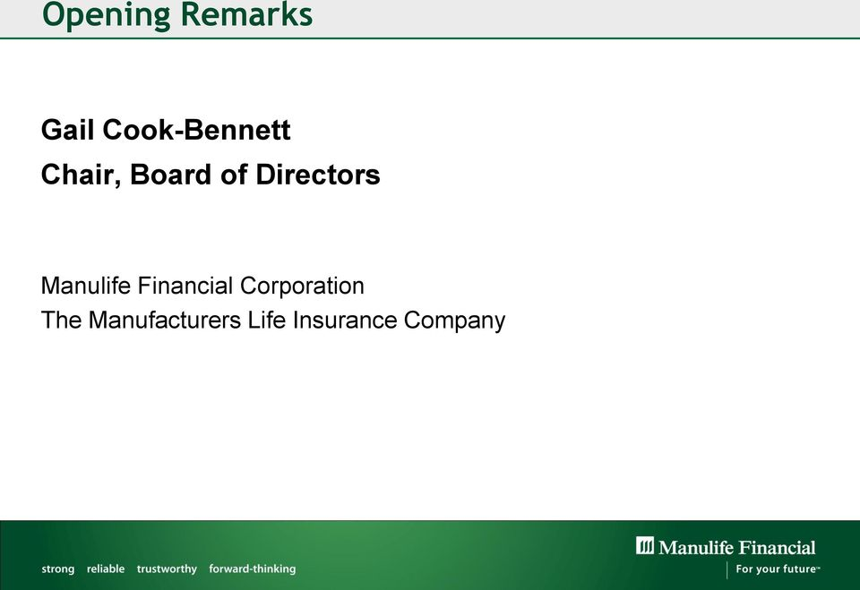 Directors Manulife Financial