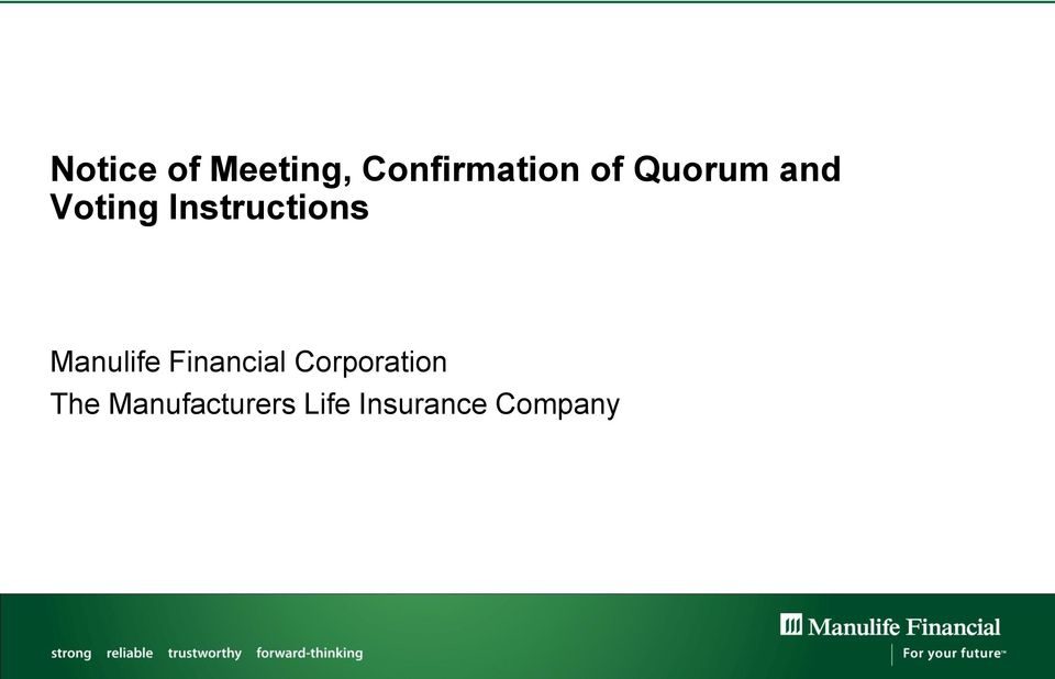 Manulife Financial Corporation The