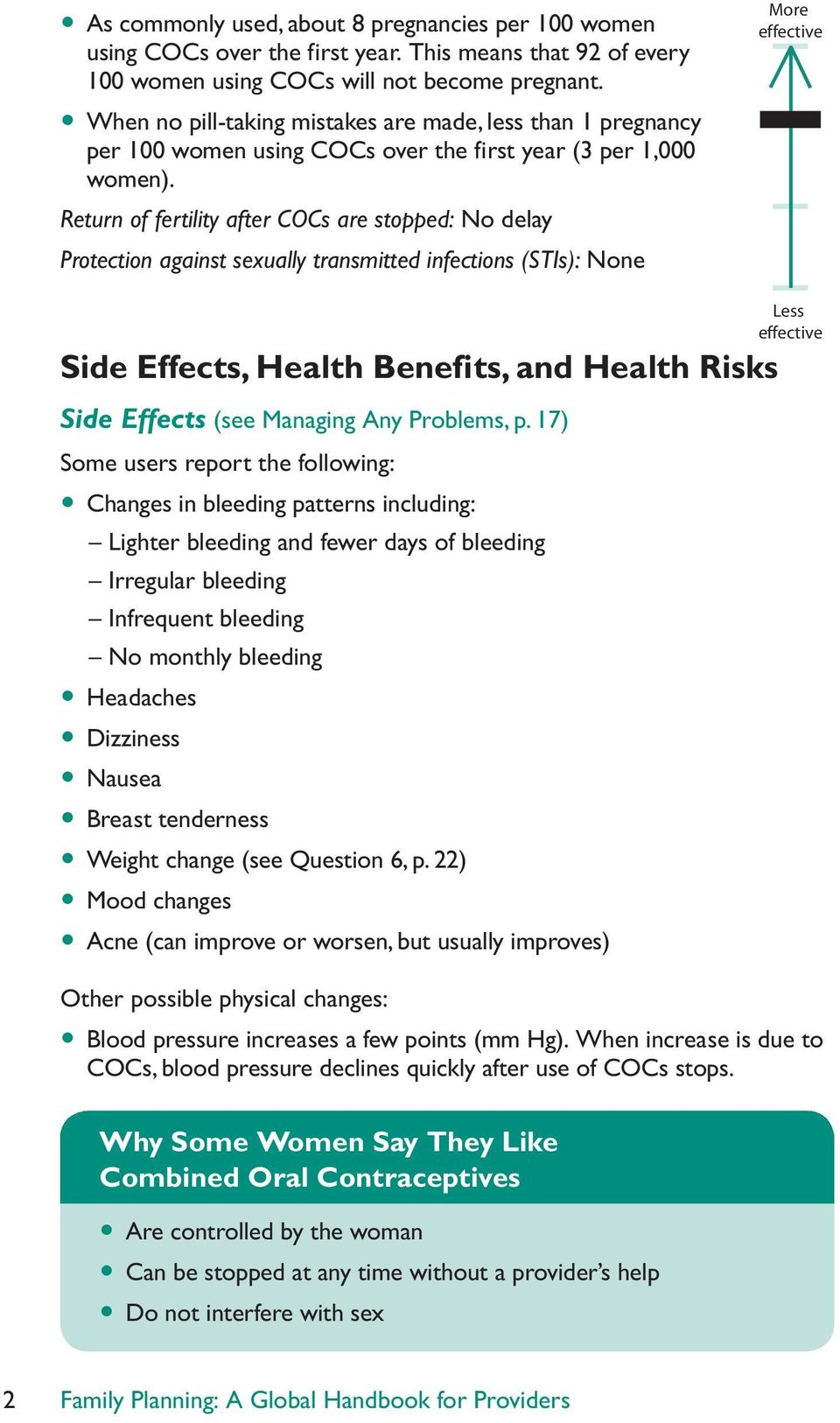 Return of fertility after COCs are stopped: No delay Protection against sexually transmitted infections (STIs): None More effective Side Effects, Health Benefits, and Health Risks Side Effects (see