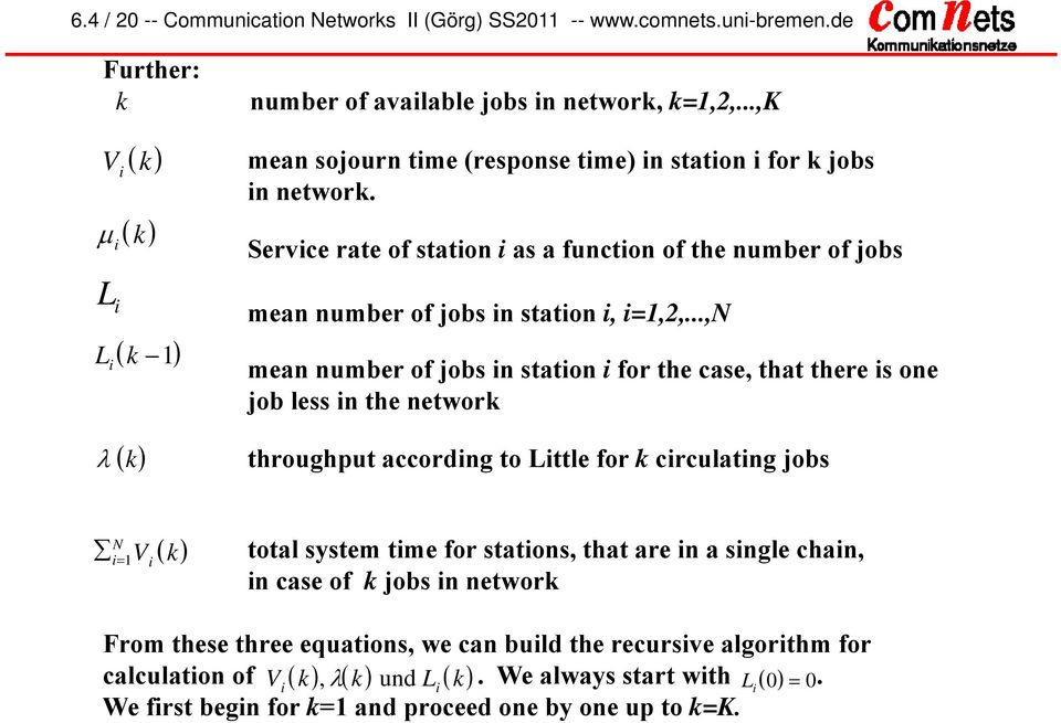 ..,N mean number of jobs n staton for the case, that there s one job less n the network k throughput accordng to Lttle for k crculatng jobs N k total system tme for statons,