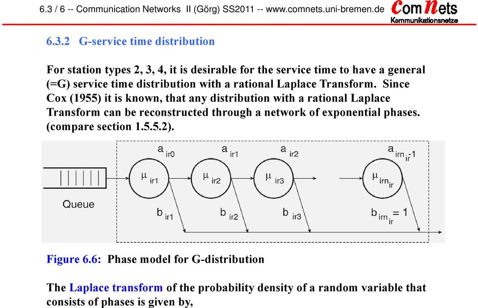 Snce Cox (955) t s known, that any dstrbuton wth a ratonal Laplace Transform can be reconstructed through a network of exponental phases.