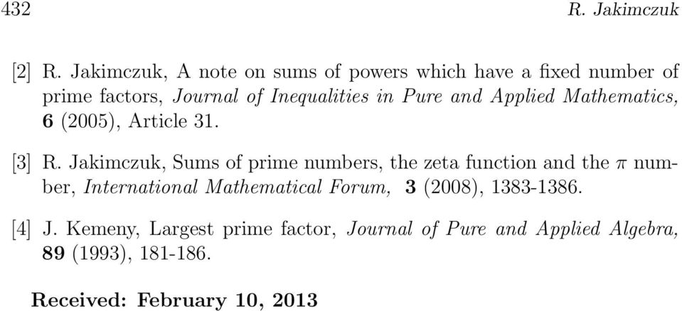 Pure ad Applied Mathematics, 6 (2005, Article 3. [3] R.