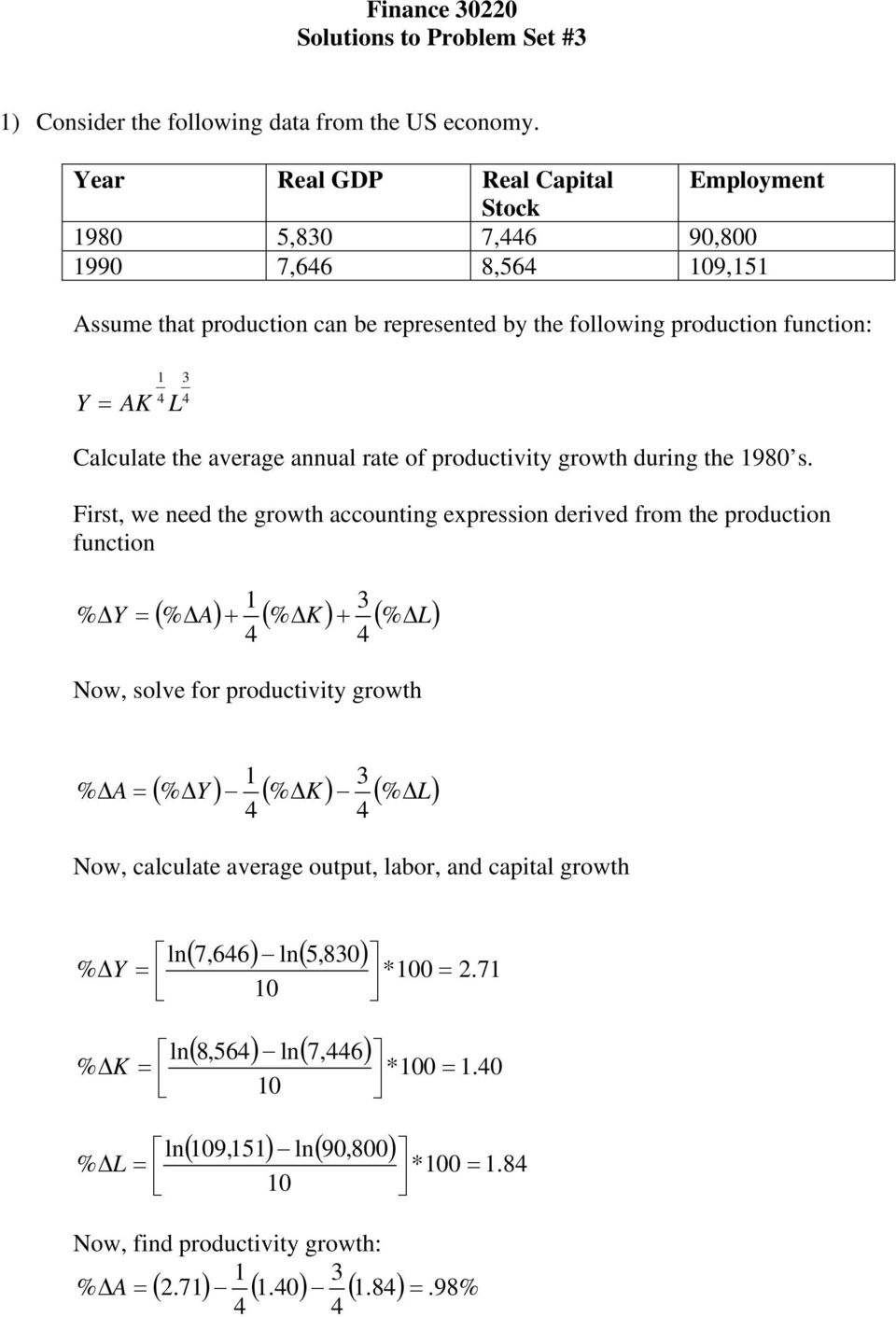4 4 Calculate the average annual rate of productivity growth during the 980 s.