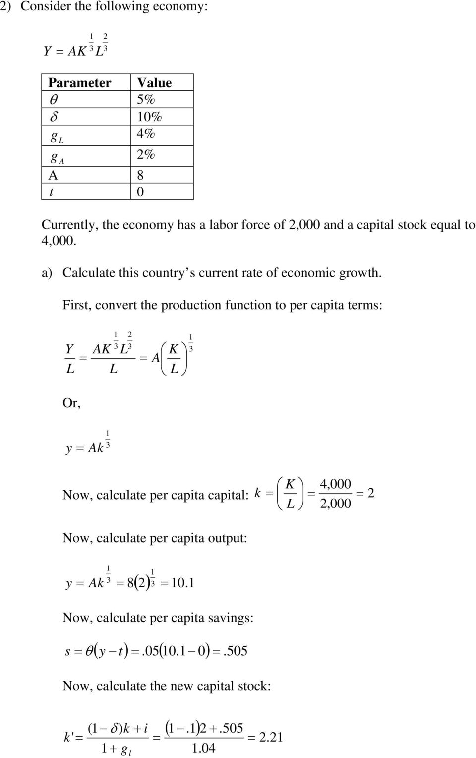First, convert the production function to per capita terms: Y AK A K Or, y Ak K 4,000 Now, calculate per capita capital: k,000