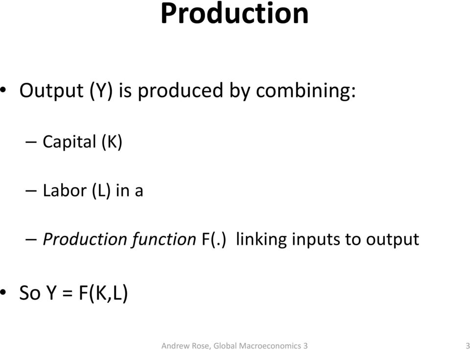 (L) in a Production function F(.